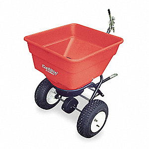 Tow Behind Spreader, 100 lb. Capacity, 3 Hole Drop Type, Pneumatic Wheel Type