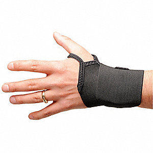 "Black Slide On, Single Strap Wrist Wrap, Ergonomic Support Size: S, Fits 5 to 7"", Wrist: Ambidextrou"