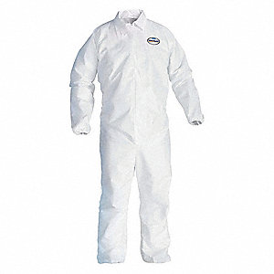 Collared Disposable Coveralls with Elastic Cuff, SMS Material, White, XL