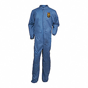 Collared Disposable Coveralls with Elastic Cuff, SMS Material, Blue, 2XL