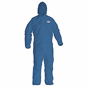 Hooded Disposable Coveralls with Elastic Material, Blue, XL