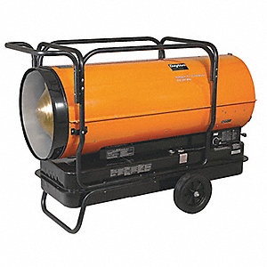 Oil Fired Torpedo Heater, 40 gal., 4.50 gph, BtuH Output 650,000, 13,500 sq. ft.