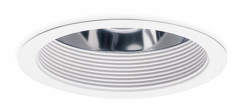 6 in White Reflector Style Fluorescent Recessed Downlight Trim, White Baffle