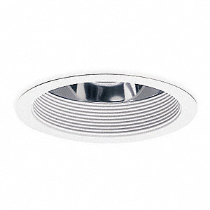 "6"" White Reflector Style Fluorescent Recessed Downlight Trim, White Baffle"