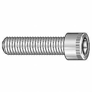 "1/4""-20 x 1/2"", Cylindrical, Socket Head Cap Screw, Not Graded, Nylon, Plain Finish, 200PK"