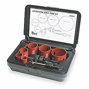 Hole Saw Locksmith Kit,8 pcs.