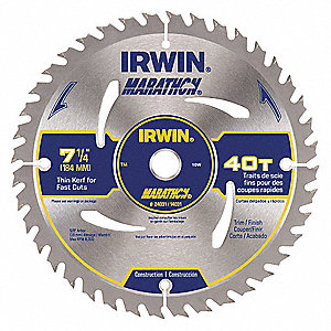"7-1/4"" Carbide Combination Circular Saw Blade, Number of Teeth: 40"