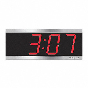 Pyramid 4 1 2 Quot X 11 1 8 Quot Rectangle Led Wall Clock Silver