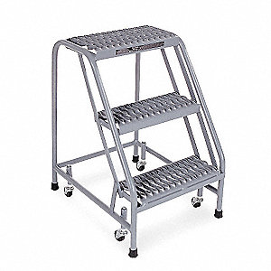 "3-Step Rolling Ladder, Serrated Step Tread, 30"" Overall Height, 450 lb. Load Capacity"