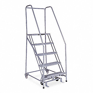 "5-Step Rolling Ladder, Expanded Metal Step Tread, 80"" Overall Height, 450 lb. Load Capacity"