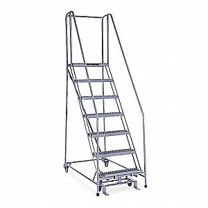 Tremendous 7 Step Rolling Ladder Serrated Step Tread 100 Overall Height 450 Lb Load Capacity Pdpeps Interior Chair Design Pdpepsorg