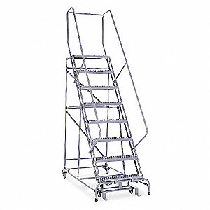 "8-Step Rolling Ladder, Serrated Step Tread, 110"" Overall Height, 450 lb. Load Capacity"