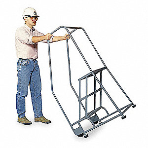 "3-Step Tilt and Roll Ladder, Expanded Metal Step Tread, 60"" Overall Height, 450 lb. Load Capacity"