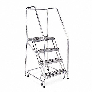 "4-Step Rolling Ladder, Serrated Step Tread, 70"" Overall Height, 350 lb. Load Capacity"