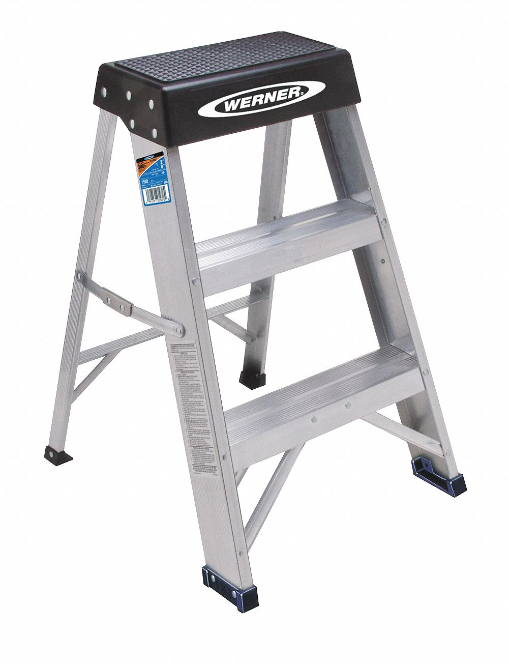 Aluminum Step Stand, 24 in Overall Height, 300 lb Load Capacity, Number of Steps: 2
