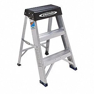 "Aluminum Step Stand, 24"" Overall Height, 300 lb. Load Capacity, Number of Steps: 2"