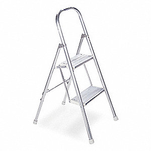 "Aluminum Household Step Stool, 42"" Overall Height, 200 lb. Load Capacity, Number of Steps 2"