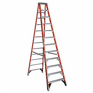 Stepladder,Fiberglass,12 ft H,375 lb Cap