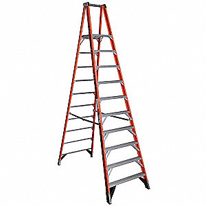 Fiberglass Platform Stepladder, 12 ft. Ladder Height, 10 ft. Platform Height, 300 lb.