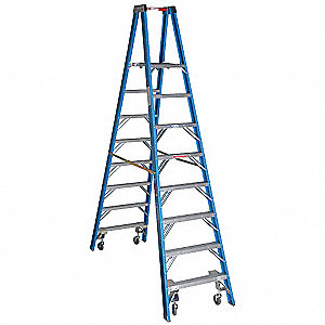 Twin Platform Stepladder,8 ft,FGL,250 lb