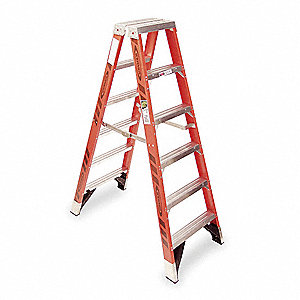 Twin Stepladder,Fiberglass,IAA,6ft,T7400