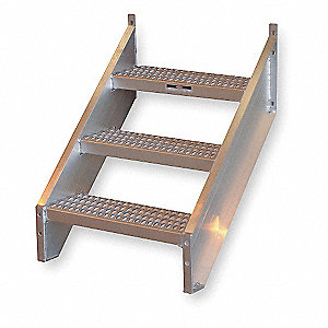 "4-Step Aluminum Stair Unit, Serrated Step Tread, 36"" Top Step Height, 350 lb. Load Capacity"