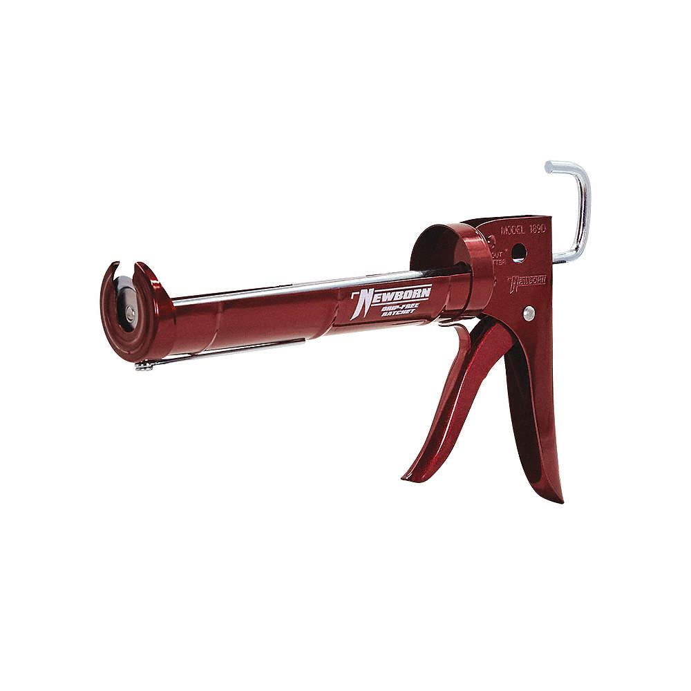 Caulk Gun, Steel, 1/10 gal , Drip-Free with Ladder Hook and Finger Guard
