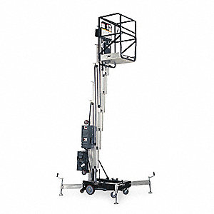 Vertical Personnel Lift, Push-Around Drive, 36 ft. Max. Work Height, 350 lb. Load Capacity