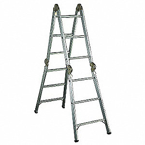 Aluminum Articulating Ladder, 13 ft. Extended Ladder Height, 300 lb. Load Capacity