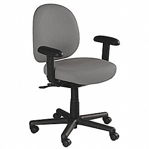 "Gray Polyester Desk Chair 15"" Back Height, Arm Style: Adjustable"