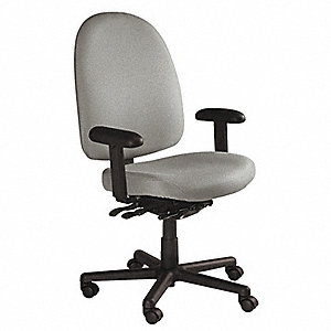 "Gray Nylon Desk Chair 18"" Back Height, Arm Style: Adjustable"
