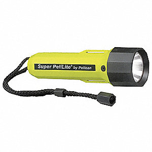 Industrial Xenon Handheld Flashlight, Plastic, Maximum Lumens Output: 21, Yellow