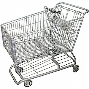 "42""L x 25""W x 40-1/2""H Wire Shopping Cart, 500 lb. Load Capacity"