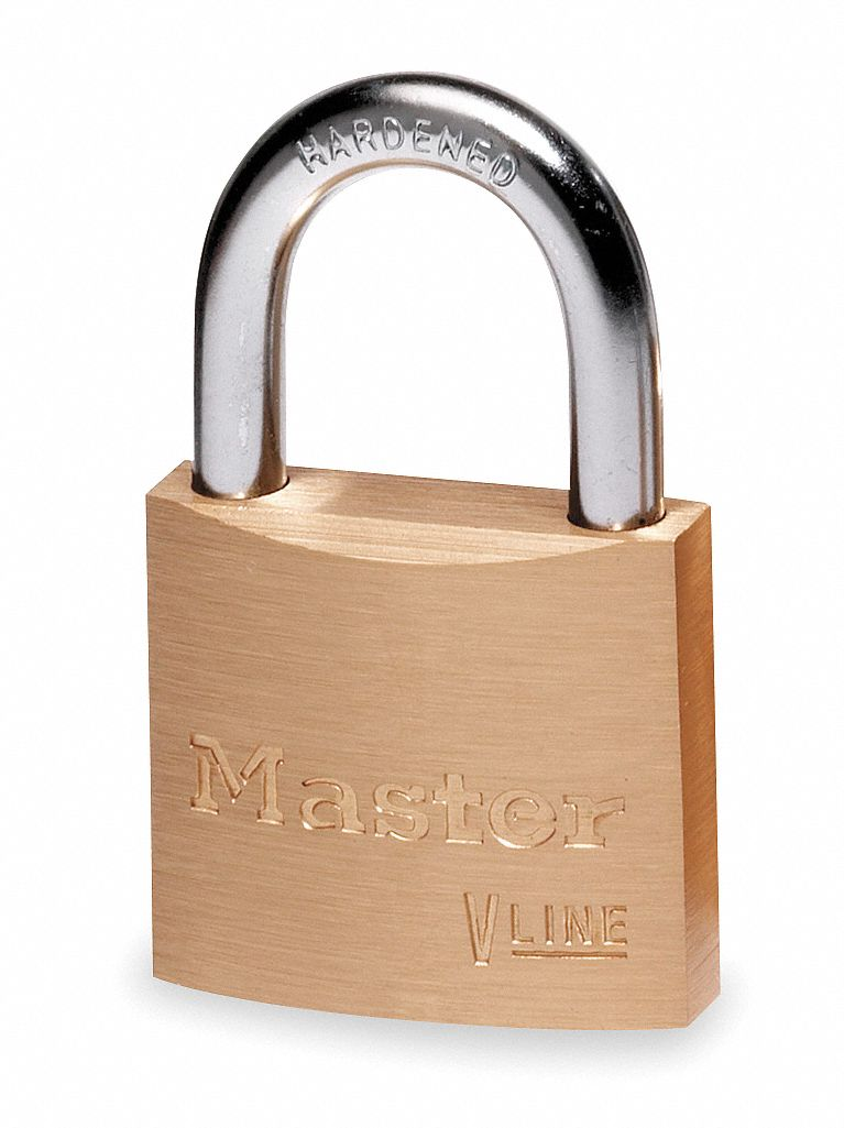 Keyed Alike,  Padlock,  Brass,  Shackle Type Standard Shackle,  Vertical Shackle Clearance 7/16 in
