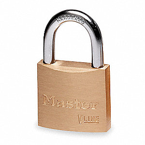 "Alike-Keyed Padlock, Open Shackle Type, 9/16"" Shackle Height, Brass"