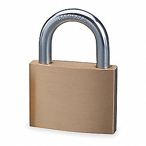 "Alike-Keyed Padlock, Open Shackle Type, 15/16"" Shackle Height, Brass"