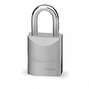 "Alike-Keyed Padlock, Open Shackle Type, 1-3/16"" Shackle Height, Silver"