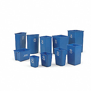 15-3/4 gal. Blue Stationary Recycling Container, Open Top