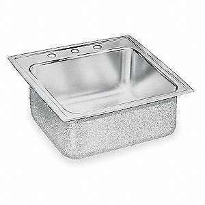 "19-1/2"" x 19"" x 10-1/8"" Drop-In Sink with Faucet Ledge with 16"" x 13-1/2"" Bowl Size"