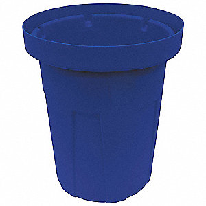"55 gal. Round Open Top Utility Food-Grade Waste Container, 36-3/4""H, Blue"
