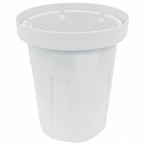 "40 gal. Round Open Top Food-Grade Waste Container, 30-1/4""H, White"