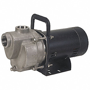 "3/4-HP Self Priming Centrifugal Pump, 42 ft. Max. Head, 3/8"" Max. Dia. Solids, 304 Stainless Steel"