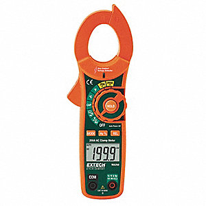 "Clamp On Digital Clamp Meter, -4° to 1400°F Temp. Range, 1-1/4"" Jaw Capacity, CAT III 600V, CAT II 1"