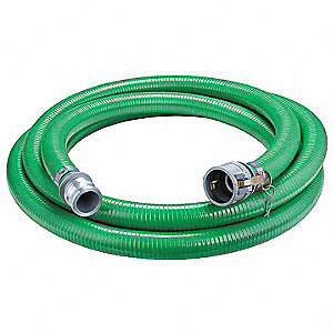 "20 ft. Green Water Suction and Discharge Hose, 4"" Fitting Size, 55 psi"