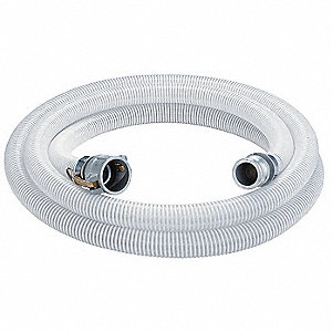 "20 ft. Clear and White Water Suction and Discharge Hose, 3"" Fitting Size, 65 psi"
