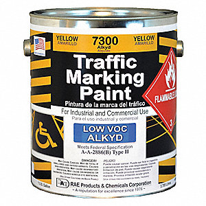 Alkyd Solvent-Base Traffic Zone Marking Paint, Yellow, 3.78L