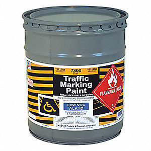 Alkyd Solvent-Base Traffic Zone Marking Paint, Yellow, 18.9L