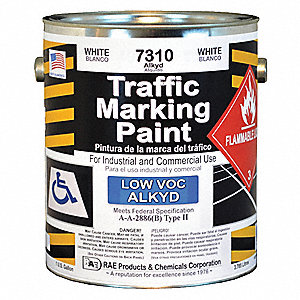 White Traffic Zone Marking Paint, Alkyd Solvent Base Type, 1 gal.