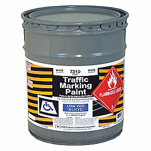 White Traffic Zone Marking Paint, Alkyd Solvent Base Type, 5 gal.