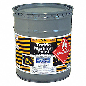 Yellow Traffic Zone Marking Paint, Chlorinated Solvent Base Type, 5 gal.